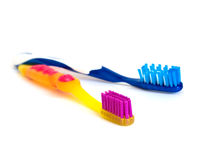 Bicolor toothbrushs isolated. On a white background Royalty Free Stock Image