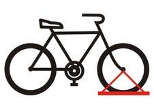 Bicycle стойка, значок вектора, черный силуэт, Стоковое Изображение RF