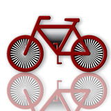 Bicycle. Red bicycle symbol illustration with reflection over white background Stock Images