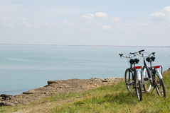 Bicycle. Two bicyles close to the sea in the island of Aix France Royalty Free Stock Photography