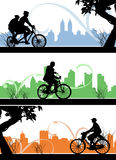 Bicycle. Silhouette 3 different vector Royalty Free Stock Photos
