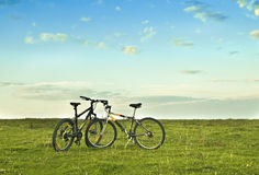 Bicycle. Two bicycle on the grass Royalty Free Stock Images