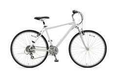 Bicycle. White bicycle on white background Stock Photography