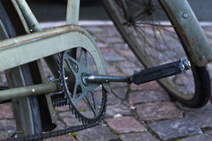 Bicycle. Old green bicycle handle retro Stock Image