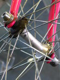 Bicycle. Closeup shot of a bicycle's spokes royalty free stock photo