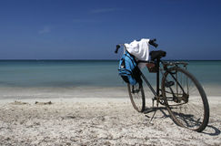 Bicycle. A romantic seascape in playa ancon at Cuba Royalty Free Stock Image