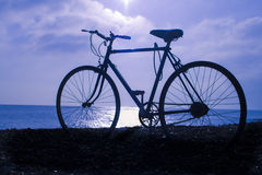 Bicycle. Photo of a bicycle and the sea stock image