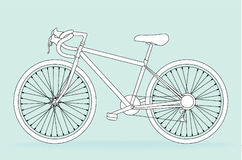 Bicycle. Modern bicycle on blue, vector illustration Stock Photography
