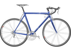 Bicycle. Blue professional race bicycle seen from the right Royalty Free Stock Photos