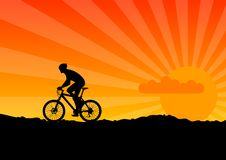 Bicycle. Black silhouette of bicicle on the orange sky royalty free illustration