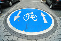 Bicycle access sign on the road Royalty Free Stock Photos
