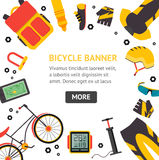 Bicycle and Accessories Banner . Vector Royalty Free Stock Photo