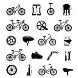Bicycle accessories black icons set Royalty Free Stock Photo