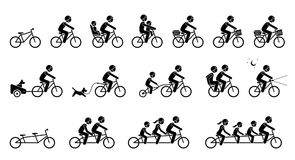 Bicycle accessories and equipments. Pictograms depicts the many type of biking accessories and parts which include tandem bicycle stock illustration