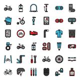 Bicycle accessories. Fill outline icon, sport and exercise, isolated on white background stock illustration