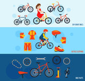 Bicycle accessories flat banners set royalty free illustration
