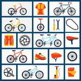 Bicycle accessories flat icons set Royalty Free Stock Photography