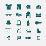 Bicycle accessories icons Royalty Free Stock Image