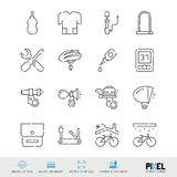 Bicycle Accessories, Tools and Clothing Vector Line Icons Set. Bike Shop, Maintenance Linear Symbols, Pictograms, Signs royalty free illustration