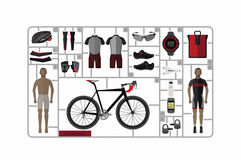 Bicycle and accessories , vector set. Royalty Free Stock Images