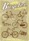 Bicycle and accessories vintage vector illustration collection in retro old poster style vector illustration