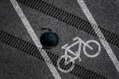 Bicycle accident on bike lane Royalty Free Stock Photos