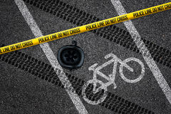 Bicycle accident on bike lane Stock Image