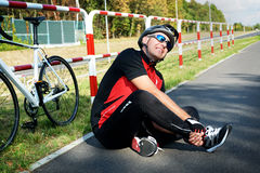 Bicycle accident royalty free stock photo
