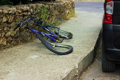 Bicycle after accident. Deformation of bicycle after accident on the street Royalty Free Stock Photography