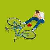 Bicycle accident. Man falls off his bicycle. Flat 3d vector isometric illustration. Bicycle accident. Man falls off his bicycle. Flat 3d vector isometric stock illustration
