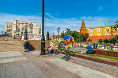 Bicycle acrobatics in the Manege square of Moscow Stock Photography