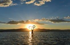 Bicycle adventure silhouette. Bike sport;bicycle adventure silhouette Stock Images