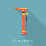Bicycle air pump. Bike hand pump. Bicycle tool, equipment, accessories. Flat style, vector illustration. Isolated with shadow. Pump for tire Stock Images