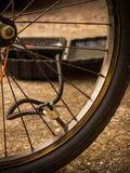 Bicycle and air pump Stock Photo