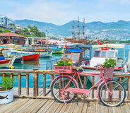 The bicycle in Alanya port Stock Photo