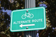 Bicycle Alternate Route. Sign on a bike trail Royalty Free Stock Image