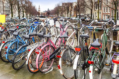Bicycles parking in Amsterdam stock images
