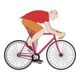 Bicycle. Animation cheerful cyclist. Vector format Royalty Free Stock Photography