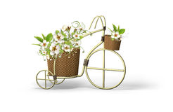 Bicycle with apple tree flowers Stock Photos