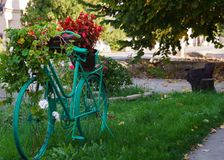 Bicycle as decoration, bicycle on the street used as decoration with flowers royalty free stock image