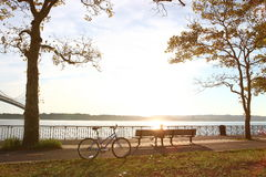 Bicycle in the autumn park. Close to the Verrazano-Narrows Bridge , The largest and longest bridge in New York City royalty free stock image
