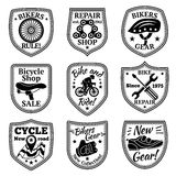 Bicycle badges vector set. With chain, wheel, helmet, biker, instruments, gear, map, saddle Royalty Free Stock Photography