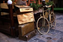 Bicycle and bags. Lviv, gold, paving Stock Images