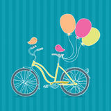 Bicycle, balloons and birds Royalty Free Stock Photography
