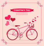 Bicycle with balloons and hearts Romantic Birthday card Royalty Free Stock Image