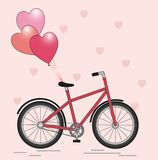 Bicycle with balloons. Postcard new Bicycle with balloons in the form of hearts on a light backgroundn stock illustration