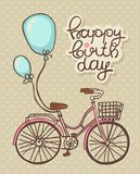 Bicycle. With balloons, Romantic Birthday card royalty free illustration