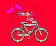 Bicycle with balloons and small heart, Romantic Valentine`s Day Card.  Stock Photo