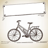 Bicycle with banner. Sketch of bicycle with banner vector royalty free illustration
