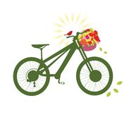 Bicycle with basket of flowers and bird. Bicycle with basket of fresh stylized flowers bird and burst vector illustration